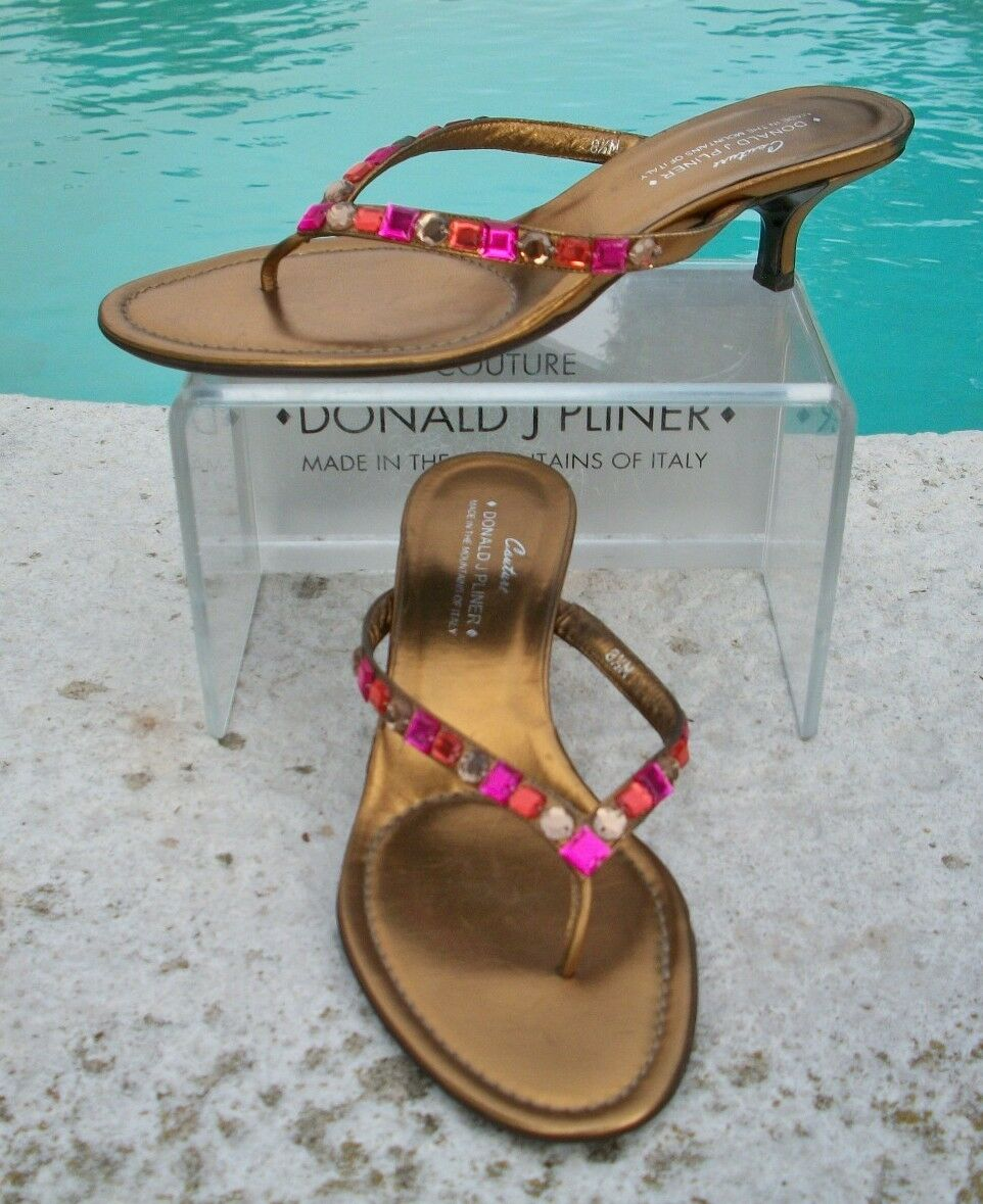 Donald Pliner Couture Metallic Leather schuhe Sandal New Crystals Crystals Crystals Flex 8.5  245 ee1083