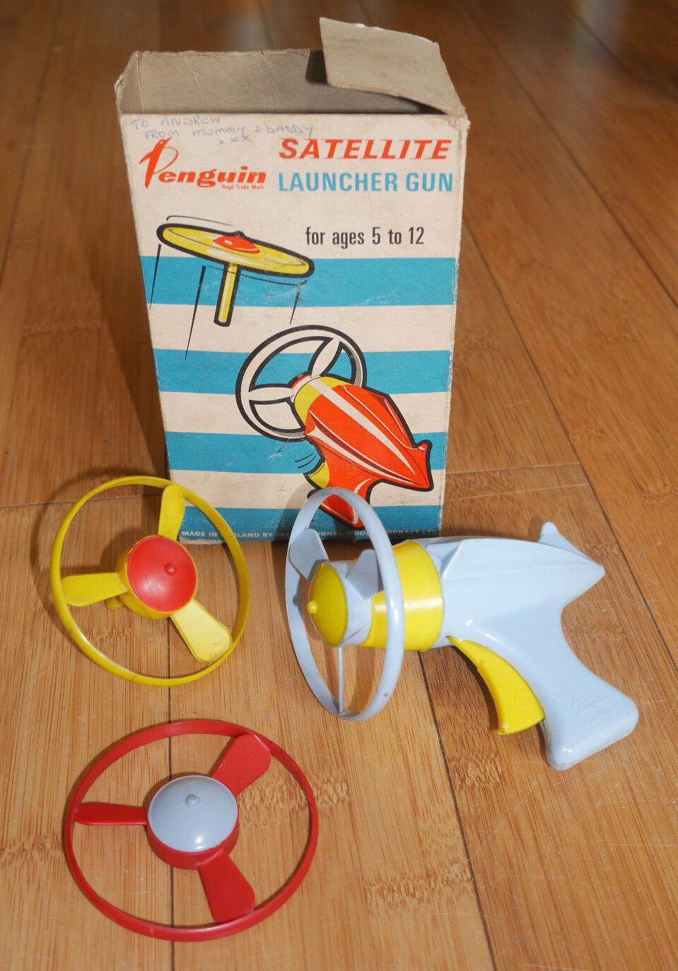 TRIANG Penguin Satellite Lanciatore Pistola giocattolo RARO IN SCATOLA Dan osare EPOCA ANNI 1950  404