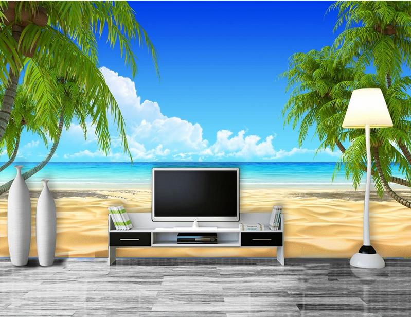 3D Blau Sky Beach Tree 949 Wallpaper Mural Paper Wall Print Wallpaper Murals UK