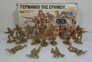 SOLPA-GREEK-VTG-70-039-s-AFRIKA-KORPS-TOY-SOLDIERS-LOT-UNUSED-BOXED-MADE-IN-GREECE