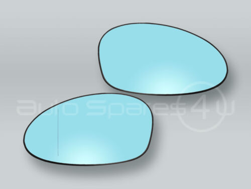 Blue Heated Door Mirror Glass and Backing PAIR fits 07-09 BMW 3-Series E92 E93