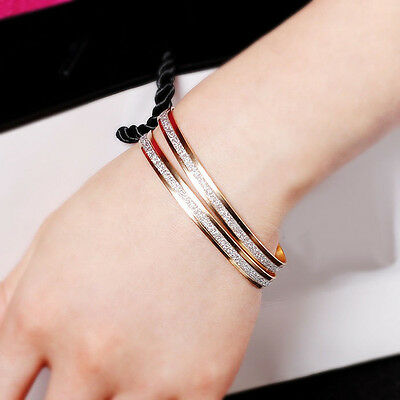 Elegant Womens Double Hoop Style 9K Yellow Gold Plated  Bangle Bracelet Jewelry