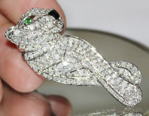 3-96-Karat-Natuerlicher-Diamant-Smaragd-14K-Echt-Weissgold-Panther-Anhaenger