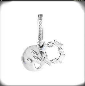 891f60236 Authentic 925 Sterling Silver Ice Carving You Melt My Heart Dangle ...
