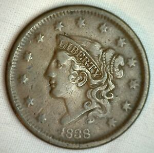1838-Coronet-Large-Cent-US-Copper-Type-Coin-Very-Fine-Newcomb-N11-M1-VF-Penny