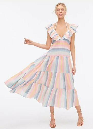 Details about  /NWT J Crew V-Neck Tiered Ruffle Dress in Sunset Stripe Sz S Beach Summer Flowy