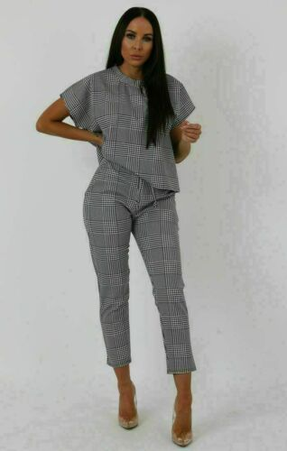 Womens Short Sleeve Check Boxy Suit ladieLoungewear Set Two Piece 2 Pc Tracksuit