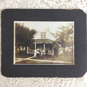 Antique Photo Victorian Family House Homestead Porch Men Women 1890s California