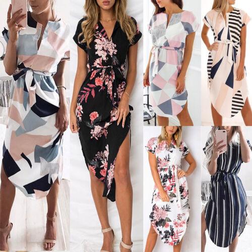 DE Damen Blumen Midi Kleid Strandkeid Sommer Freizeit Cocktail Abend Partykleid