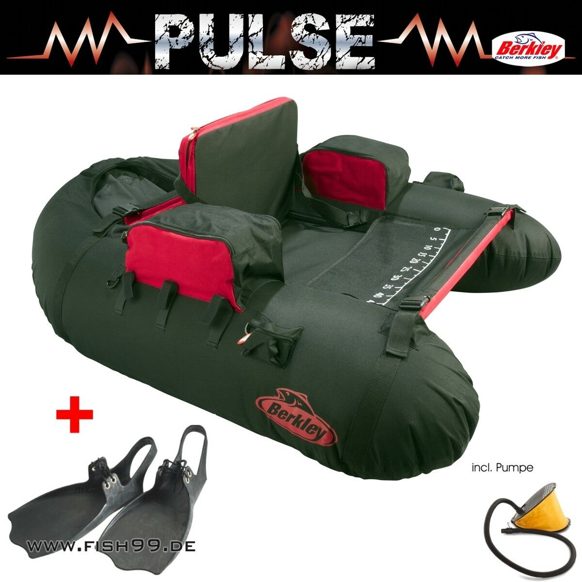 Berkley Pulse  XCD  Belly Boat - Float Tube + Belly Stiefel Flossen + Pumpe
