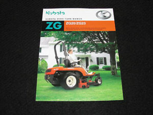 original kubota zg20 zg23 zero turn mower catalog brochure very nice rh ebay com Kubota ZG23 Kubota ZG20 Parts Diagrams Online