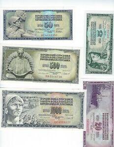 100 10 50 1000 Dinara Set of 7 Banknotes UNC 20 500 Yugoslavia 5