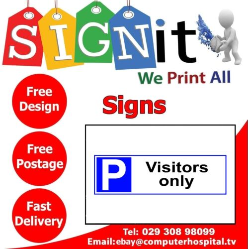 Vistors Only Parking Plastic Correx 0131 Aluminium Or Sticker Sign
