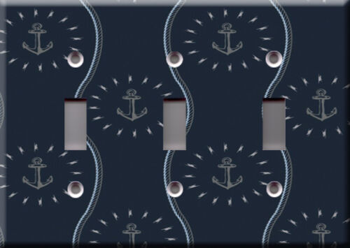 Light Switch Plate Cover Nautical boat navigation sea blue Anchors wavy rope