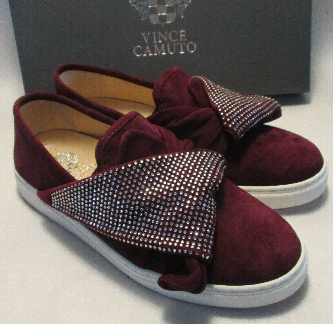New Vince Camuto Barita 8M Cabernet color Suede Leather Rhinestone Fold Sneakers