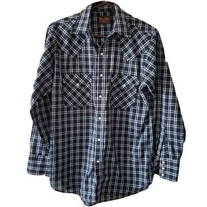 Plains-Western-Wear-Pearl-Snap-Navy-Blue-Plaid-Long-Sleeve-Small