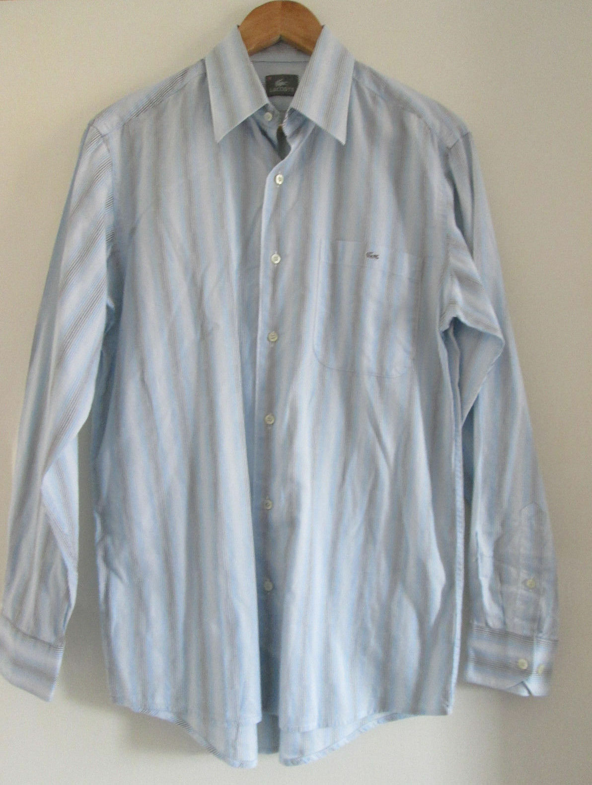 Mens LACOSTE blueE COTTON STRIPED SHIRT SIZE 40