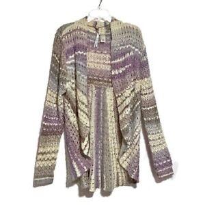 Leo-amp-Nicole-Sweater-Size-XL-Purple-Loose-Knit-Draped-Open-Front-Cardigan