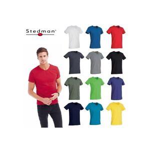 T-SHIRT-STEDMAN-ST9010-BEN-COLLO-V-UOMO-COTONE-MANICA-CORTA