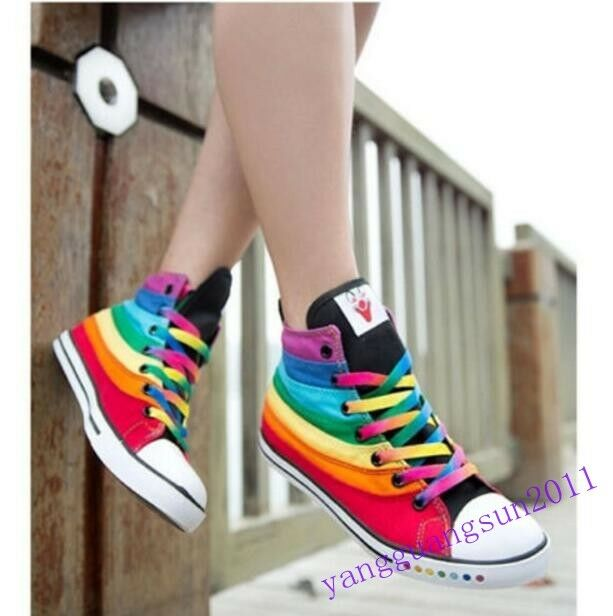 Hot Women's casual high top rainbow canvas trainers sports sneakers shoes