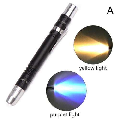 2 en 1 DEL UV Lampe de poche lampe-stylo pen Clip Torche lumière blanche 395 Presque comme neuf Détecteur Srda