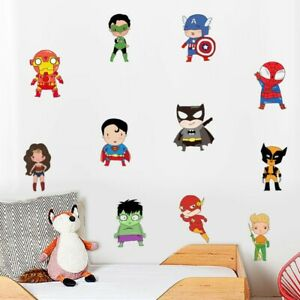 Details about Superhero Wall Sticker Batman Superman Vinyl Decals Kids Boys  Bedroom Wall Decor