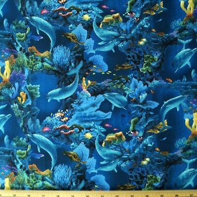Enchanted Waters Dolphins And Sea Life 100% Cotton Fabric