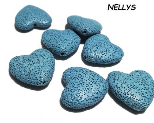 Nellys 2 pièces lave cœur turquoise environ 26x27x8mm Pierres précieuses perles Strang