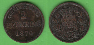 Cu 2 Pfennig 1870 Bayern Ludwig II. Jg. 92 AKS 184 stampsdealer