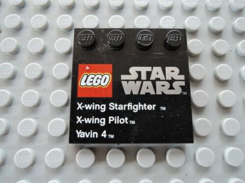 Lego 1 x Fliese 6179pb047 schwarz 4x4 bedr X-Wing Pilot Yavin 4  9677
