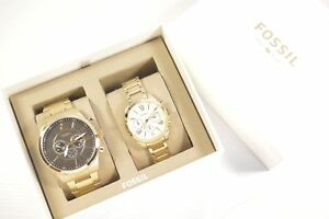 FOSSIL-BQ2145SET-GRANT-CHRONOGRAPH-GOLD-TONE-COUPLES-WATCH-SET