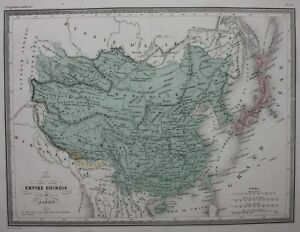 CHINA-CHINESE-EMPIRE-JAPAN-KOREA-original-antique-map-Malte-Brun-c-1882