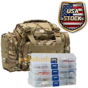 Fishing Tackle Bag 60 Spinner Swimbait Lures Kit 5 Tackle Boxes Bass Gift
