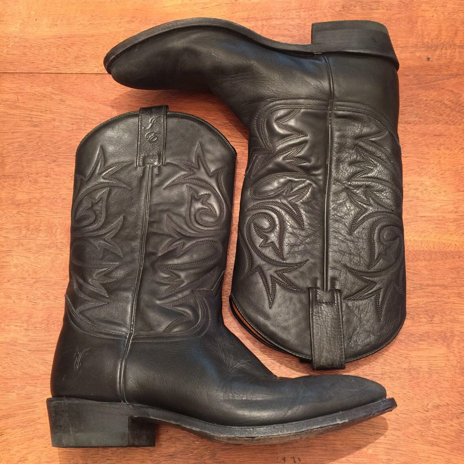 Héroe de Frye Cuero Negro Edición Limitada Jennifer Estes botas de vaquero para hombre US 8
