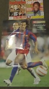 24 Four Four Two Magazines 2004-2006 Euro 2004 Guide,Ronaldinho poster, Pele..