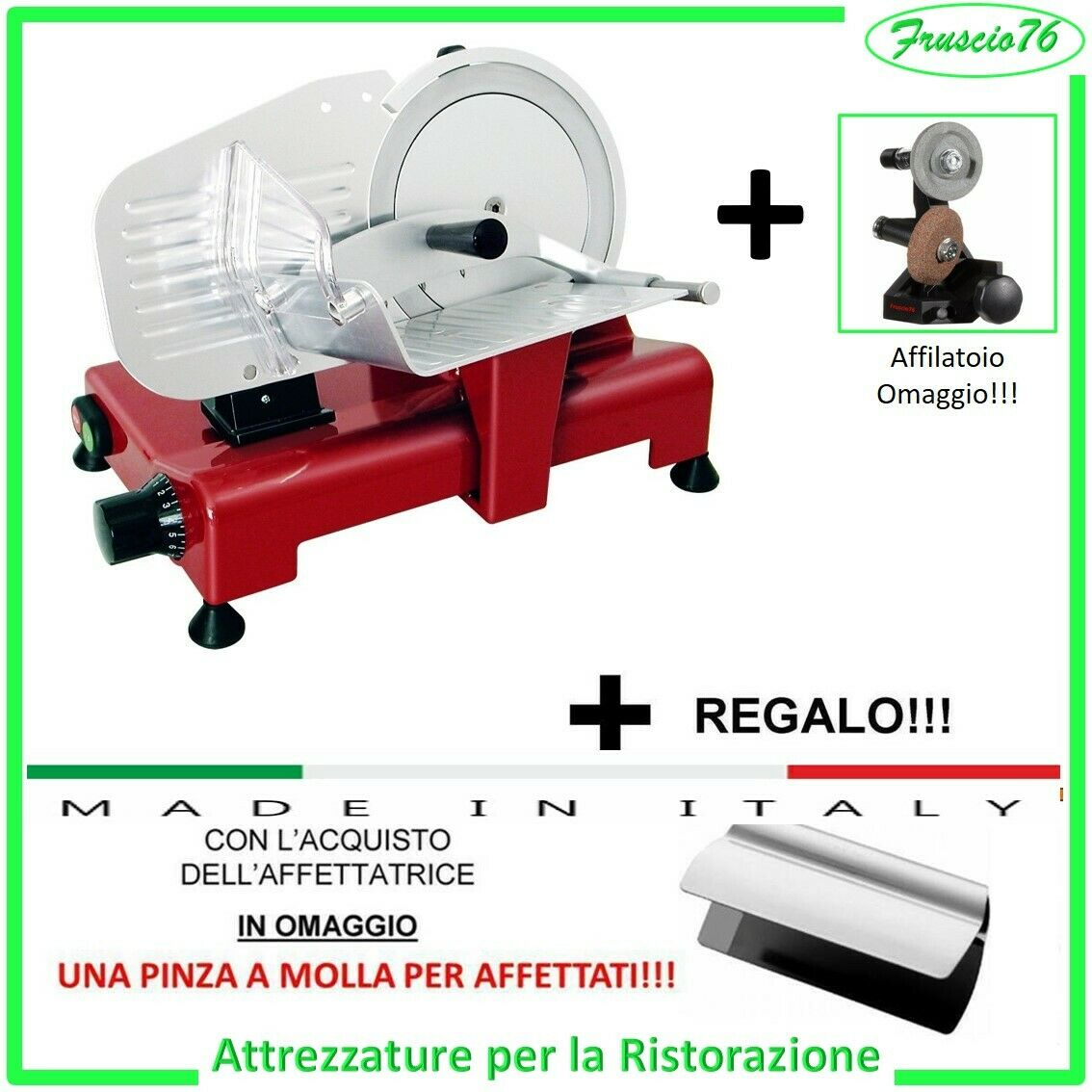 Affettatrice Elettrica Lusso 195 RGV Rossa alluminio da Casa Affilatoio + Pinza