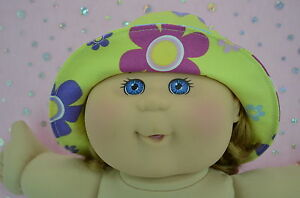 Play-n-Wear-Doll-Clothes-To-Fit-14-034-Cabbage-Patch-YELLOW-FLOWER-DRILL-SUN-HAT
