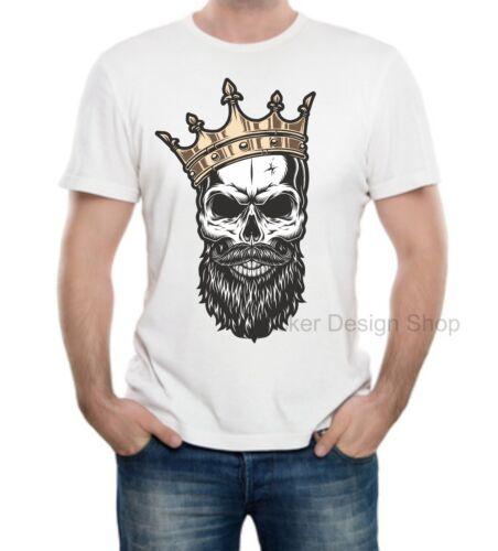 King Skull Königschädel Krone T-Shirt Druck Unisex Baumwolle Fruit of The Loom