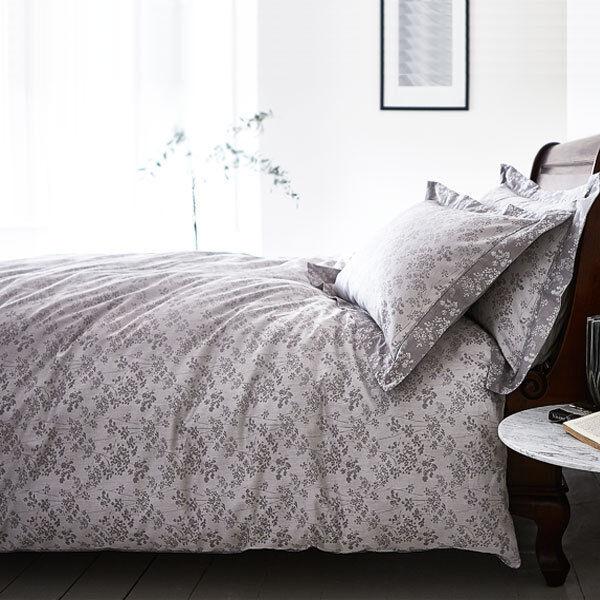Weiß Cotton Soft Sprig 100% Cotton Jacquard Duvet Cover Set, grau
