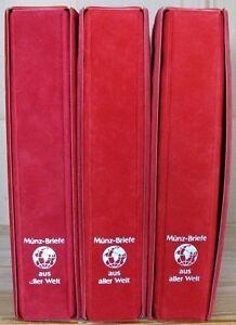 s1588-Numisbriefe-aus-Aller-Welt-Sammlung-mit-95-NB-in-3-Alben-mit-Schuber