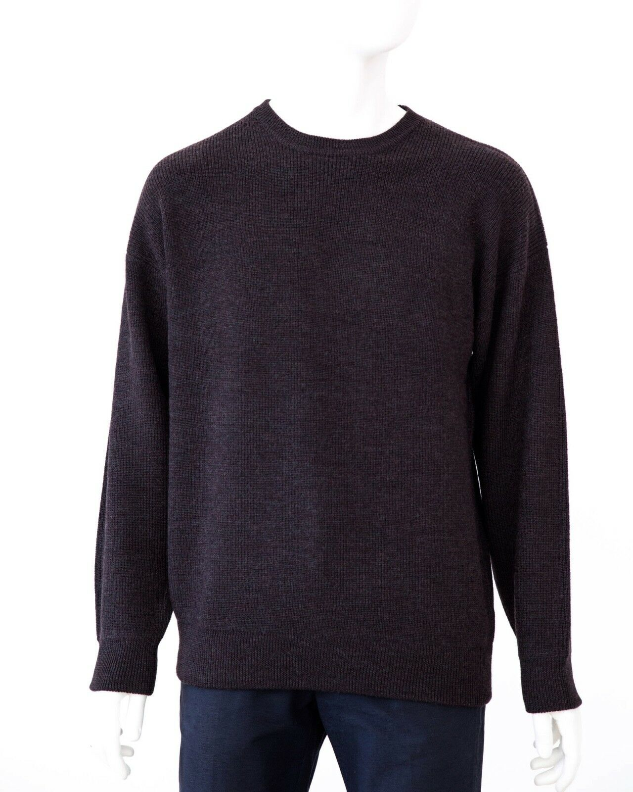 Timber Braun Coffee Ansett Pure Wool Fisherman Rib Jumper Knitwear Sweater