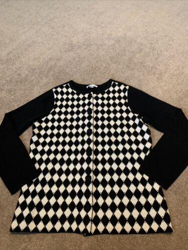 Sweater Cardigan Large Pendleton Houndstooth Black and White Merino Wool Long Sleeves Vintage Apparel