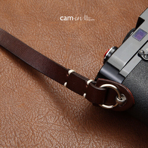 Dark Brown Leather Camera Strap with ring connection by Cam-in white stitching
