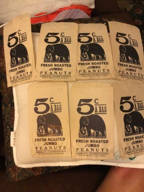 New Old Stock 1950s Circus Fresh Roasted Peanuts bag Lummis /& Co Philadelphia