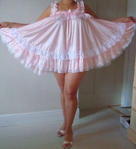 lots of Sissy PINK Ruffles M-2XL Neljen Vintage Tricot  Baby Doll Slip Dress