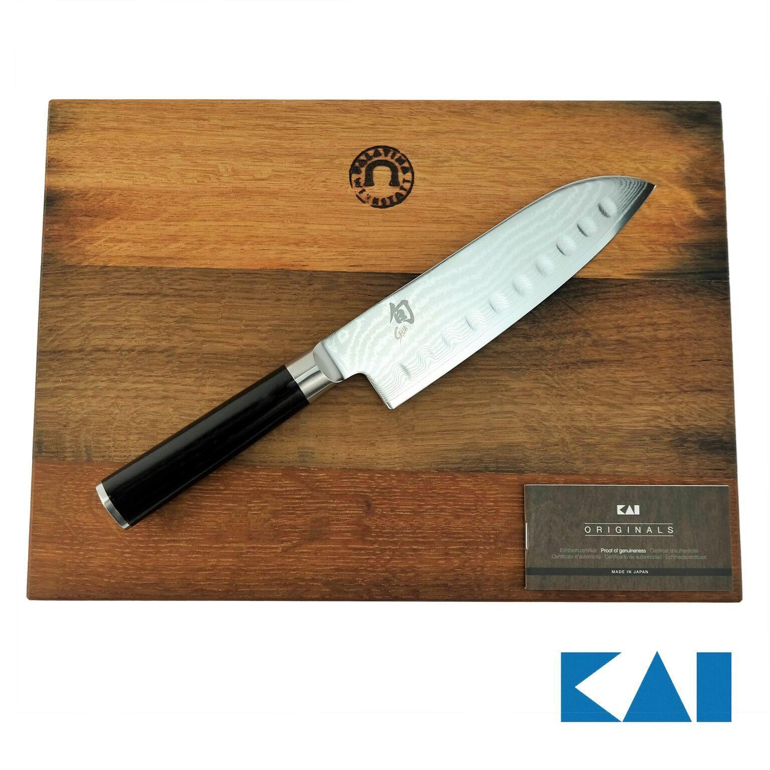 KAI Shun Classic Santoku DM-0718 mit Kullenschliff,ultrascharf+ Kullenschliff,ultrascharf+ Kullenschliff,ultrascharf+ Schneidebrett 5fe846