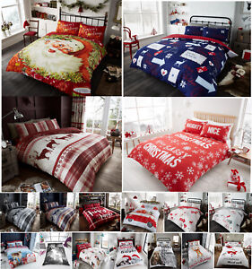 Christmas Duvet Cover Sets Single Double King Size Xmas Printed New Bedding