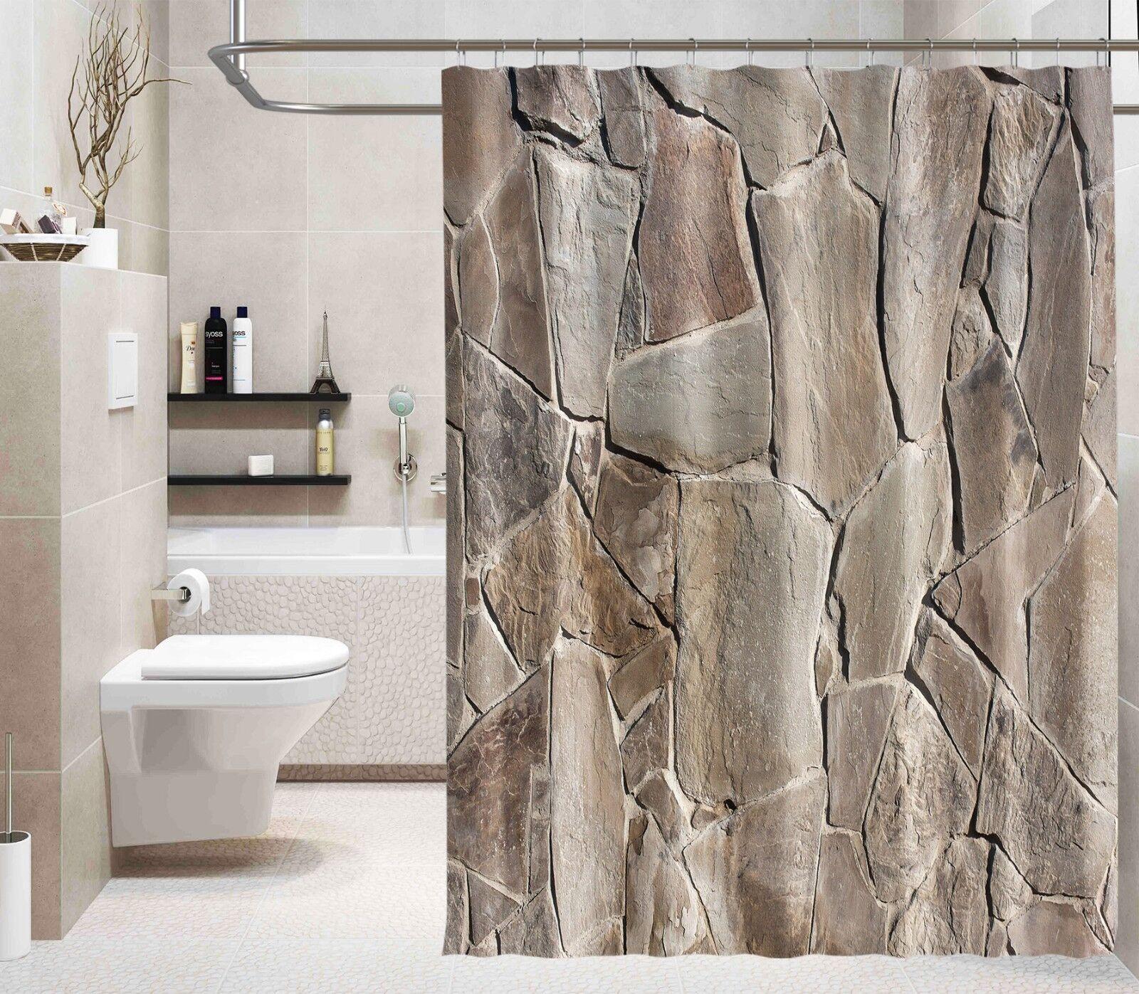 3D MARMO MURO 26 Tenda da doccia IMPERMEABILE Fibra Bagno WC CASA FINESTRE