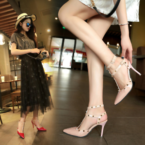Womens-Patent-Rivets-Heels-T-Straps-Sandals-Pointed-Toe-Shoes-Stilettos-Zsell