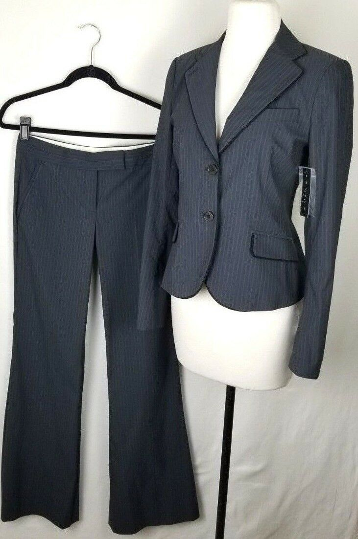 Women's Theory Amanda P Suit Blazer Sz 6 Pants Sz 2 Stripped Dark Indigo bluee